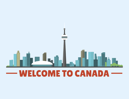 Welcome to Canada city downtown buildings silhouette canadian cityscape vector illustration