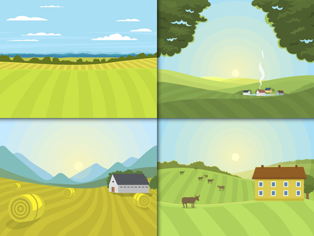 rural road: Village landscapes vector illustration farm field and houses agriculture graphic country side