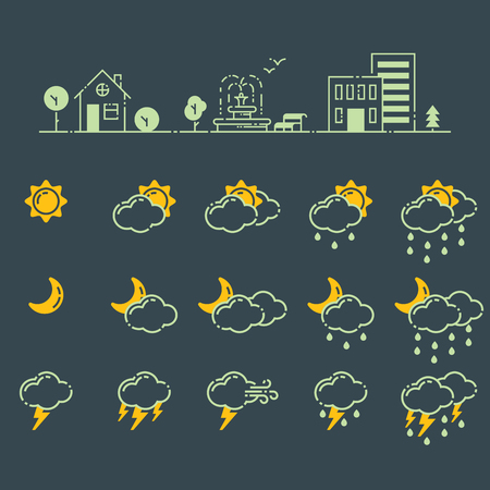 날씨 아이콘 벡터 일러스트 레이 션의 집합 계절 온도계 개요 디자인 천둥 온도 기호입니다. 기상학 하늘 또는 태양 웹 응용 프로그램의 자연 요소입니 일러스트
