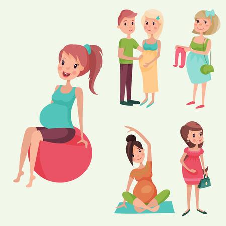 Embarazo maternidad personas expectativa concepto feliz mujer embarazada carácter vida con gran vientre ilustración vectorial Foto de archivo - 80885603