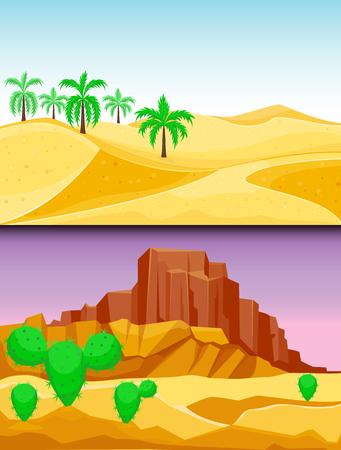 Van het de zandsteenwildernis van de woestijnbergen het landschapsachtergrond droog onder van de het landschapsseis van de zon hete duin vectorillustratie.