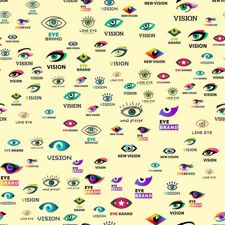 目ウィンカー シームレス パターン ビジョン夏時間グリマー テンプレート keeker 光のぞき見をする人会社ベクトル図