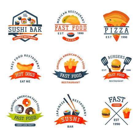 カラフルな漫画ファーストフード レーベル ・ ロゴは、レストランおいしいアメリカ チーズバーガー バッジ mea 食事ベクトル図を分離しました。