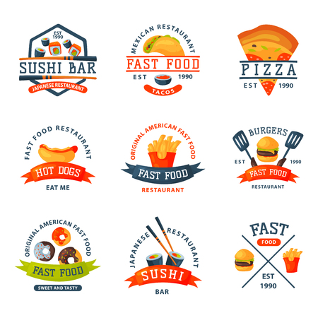 Colorful cartoon fast food label logo isolated restaurant tasty american cheeseburger badge mea meal vector illustration. Illustration