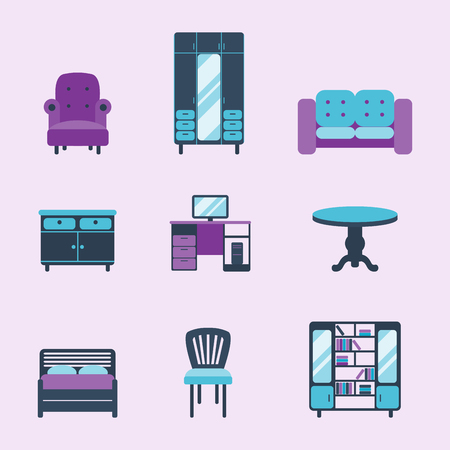 Furniture interior icons home design modern living room house comfortable apartment vector illustration Çizim