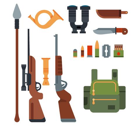 사냥 무기 및 기호 디자인 요소 플랫 스타일 사냥꾼 숲 야생 동물 벡터 일러스트 레이 션.