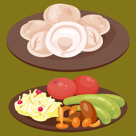 伝統的なロシア料理文化料理コース料理ロシア グルメ全国お食事ベクトル図へようこそ 写真素材 - 80885624