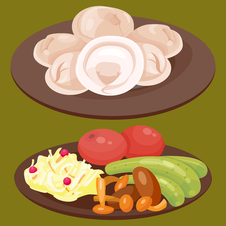 Traditional Russian cuisine culture dish course food welcome to Russia gourmet national meal vector illustration Reklamní fotografie - 80885624