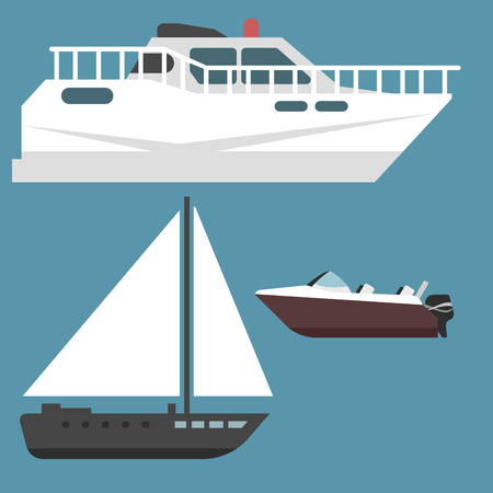 Ship boat sea symbol vessel travel industry vector sailboats cruise set of marine icon Stock Vector - 80885629