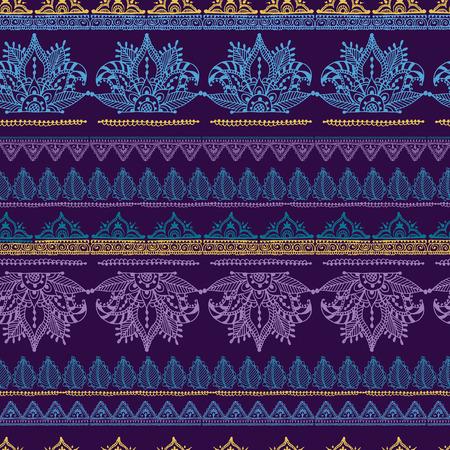 Mehendy 花のシームレスなパターン デザイン幾何学模様ベクトル イラスト花暗  イラスト・ベクター素材