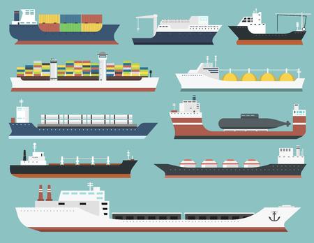 Set van commerciële levering vrachtschepen en tankers verzending bulk carrier trein veervracht industriële goederen zijaanzicht geïsoleerd op achtergrond tankers boot vector illustratie