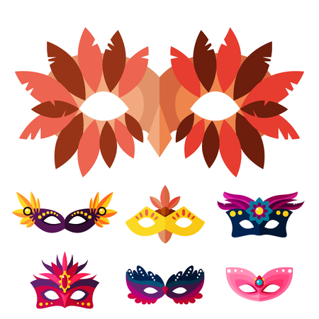 costume ball: Authentic handmade venetian painted carnival face masks collection for party decoration or masquerade realistic isolated vector illustration. Glitter elegance costume holiday symbol