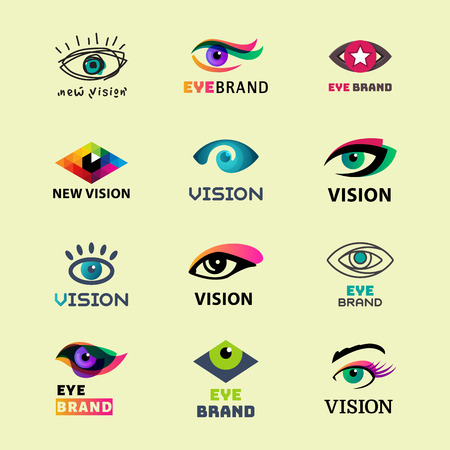 Eye blinker business icon daylight glimmer template logotype idea keeker light peeper company logo badge vector illustration. Look see creative eyeball optical watch vision emblem. Illusztráció