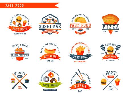 Het kleurrijke embleem van het beeldverhaal snelle voedsel geïsoleerde restaurant smakelijke Amerikaanse kenteken van het cheeseburgerkenteken en de ongezonde vectorillustratie van de hamburgermaaltijd. Junk drink snack franse gefrituurde diner eten.