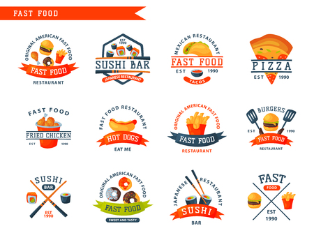 Colorful cartoon fast food logo isolated restaurant tasty american cheeseburger badge meat and unhealthy burger meal vector illustration. Junk drink snack french fried dinner eating. Vettoriali