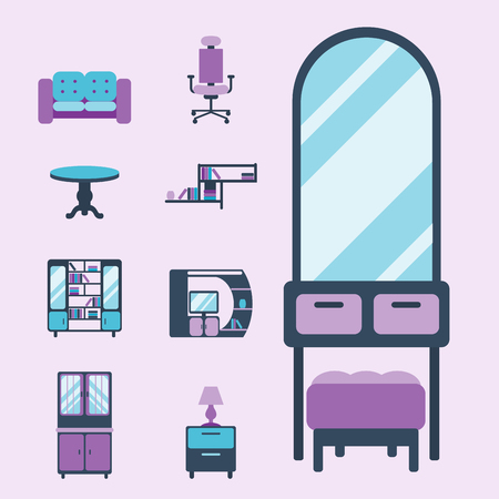 Furniture icons home design modern living room chair house sofa comfortable apartment couch vector illustration. Contemporary luxury flat elegancee retro bedroom interior. Çizim