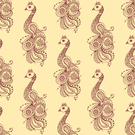 Henna tattoo seamless pattern mehndi flower doodle ornamental decorative indian design pattern paisley arabesque mhendi embellishment vector.