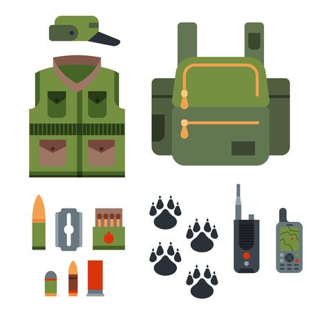 探求の武器および記号要素フラット スタイル ハンター森林野生動物ベクトル図を設計します。