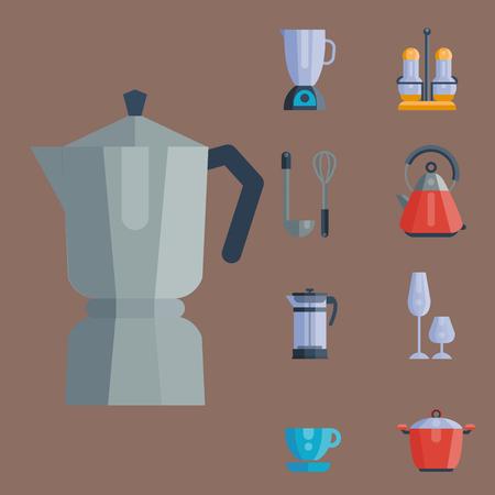Küchenutensilien Symbole Vektor-Illustration Haushalt Abendessen Kochen Lebensmittel Küchenutensilien. Sammlung Geschirr Geschirr Vorbereitung Besteck Ausrüstung. Standard-Bild - 80873946