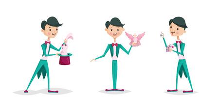 かわいい手品師文字トリック ベクトル図マジック ショー漫画男ウィザード サーカス。驚きエンターテイメント パフォーマンス幻想男性人杖専門職