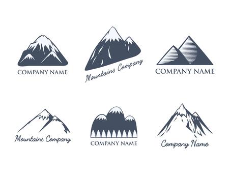 Der Gebirgsgebirgsvektorschattenbildnatur im Freien die felsige Schneeeisspitze dekorative kampierende Logo-Reiseaufkleber kletternde Hügelspitze der Landschaft, die Ausweisillustration wandern. Standard-Bild - 80873947