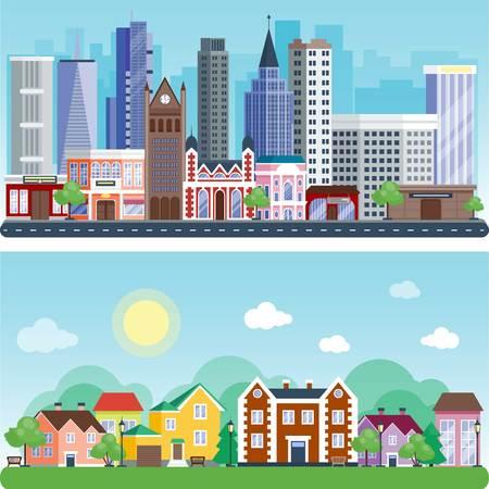 都市屋外日風景家通り建物の屋外の設計ベクトル図のモダンなフラット パターン  イラスト・ベクター素材