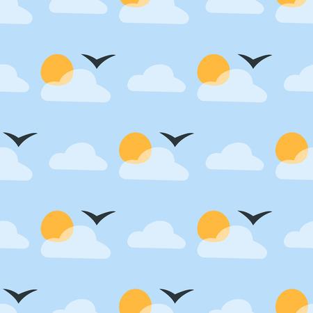 날씨 원활한 패턴 구름 벡터 일러스트 레이 션 시즌 개요 디자인 천둥 온도 기호