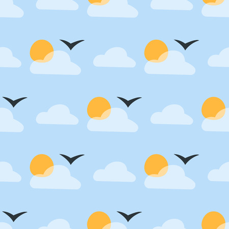 Weather seamless pattern cloud sky vector illustration season outline design thunder temperature sign