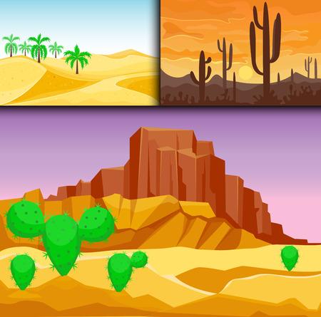 Woestijn bergen zandsteen wildernis landschap achtergrond droog onder zon heet duin landschap reis vector illustratie.