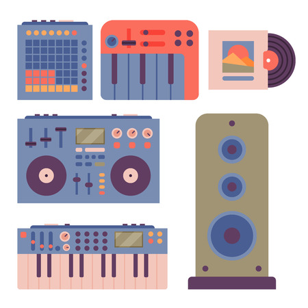 Hip hop accessory musician instruments breakdance expressive rap music dj vector illustration. 向量圖像