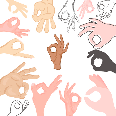 agree: Ok hands success gesture okey yes agreement signal business human agree best approval vector. Illustration
