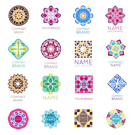 Abstract triangular polygonal shape kaleidoscope geometry company brand logo badge template circle decorative vector icon. Çizim