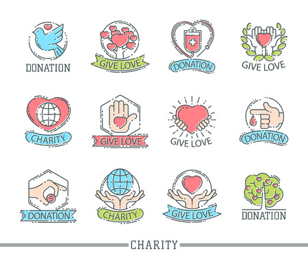 Donate money set logo icons help icon donation contribution charity philanthropy symbols humanity support vector 向量圖像