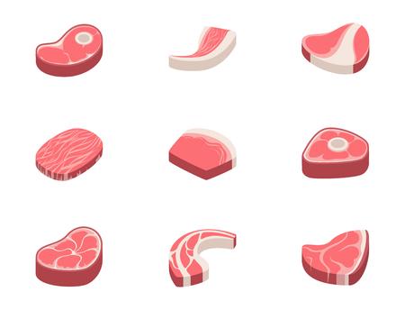 Steak de boeuf viande crue alimentaire rouge frais coupé boucher côtelette non cuite barbecue bbq tranche ingrédient illustration vectorielle Vecteurs
