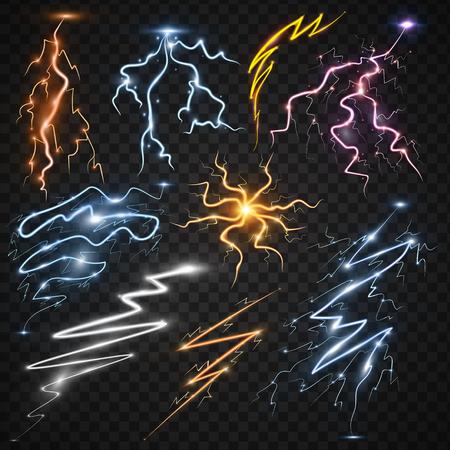 雷ボルト ストライク リアルな 3 d 光雷嵐魔法と明るい照明効果ベクトル図です。  イラスト・ベクター素材
