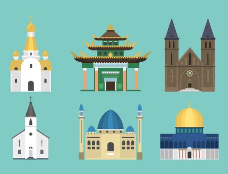 Illustrazione famosa di vettore di turismo del punto di riferimento della costruzione tradizionale del tempio della chiesa della cattedrale Archivio Fotografico - 81001925