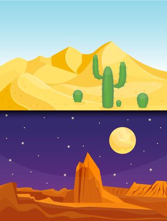 Desert mountains sandstone wilderness landscape background dry under sun hot dune scenery travel vector illustration. Banco de Imagens - 81001964