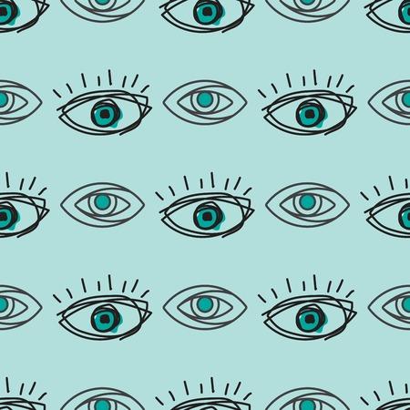 Oeil clignotant modèle sans couture vision lumière du jour lueur modèle gardien lumière peeper société vector illustration Banque d'images - 81001967