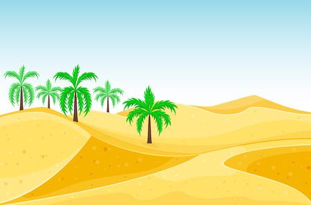 Desert mountains sandstone wilderness landscape background dry under sun hot dune scenery travel vector illustration.