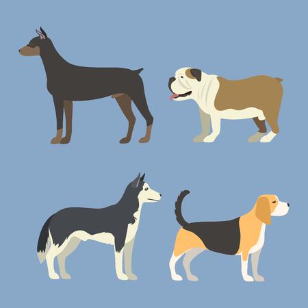 Funny cartoon dog character bread in flat style puppy pet animal doggy vector illustration. Иллюстрация
