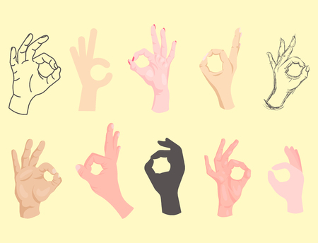 Ok hands success gesture okey yes agreement signal business human agree best approval vector. Ilustração