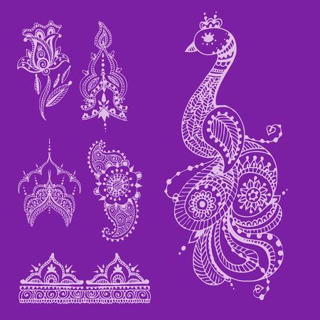 Henna tattoo brown mehndi flower doodle ornamental decorative indian design pattern paisley arabesque mhendi embellishment vector. Иллюстрация