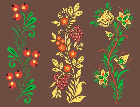 Vector khokhloma pattern design traditional Russia drawn illustration ethnic ornament painting illustration