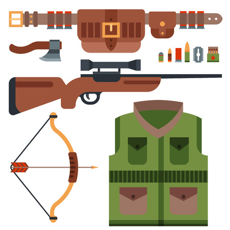 Hunting weapons and symbols design elements flat style hunter forest wild animals vector illustration.