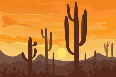 Desert mountains sandstone wilderness landscape background dry under sun hot dune scenery travel vector illustration. Imagens - 81005884