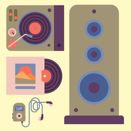 Hip hop accessory musician instruments breakdance expressive rap music dj vector illustration. Illustration