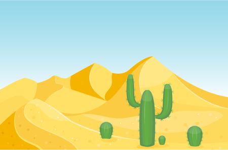Desierto de las montañas de arenisca desierto paisaje de fondo seco bajo el sol caliente duna paisaje de viajes ilustración vectorial. Foto de archivo - 81005885