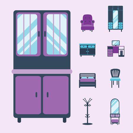 Furniture interior icons home design modern living room house comfortable apartment vector illustration Stok Fotoğraf - 81005890