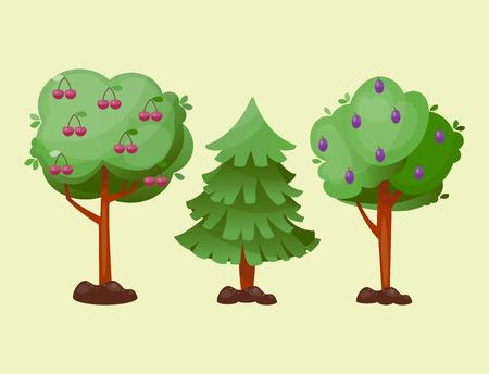 Lässt Karikaturgrünbaumvektor-Sommerblatt-Betriebshintergrund. Dschungel-Niederlassungsgartendekorationstextil-Florawald des natürlichen Designs. Standard-Bild - 81000532