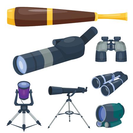 전문 카메라 렌즈 쌍안경 유리 봐 - 망원경 광학 장치 카메라 디지털 포커스 광학 장비 벡터 일러스트 스톡 콘텐츠 - 81005897